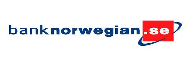 Bank Norwegian logo Blå text rött .se