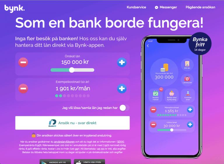 Låna pengar genom Bynk och deras app.
