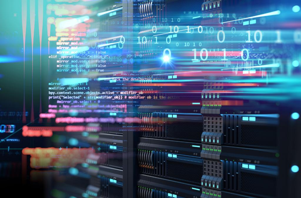 Tekniken för kryptovaluta beskrivs i denna artikel Bild på serverhall med ettor och nollor i bakgrunden som symboliserar data transaktioner.